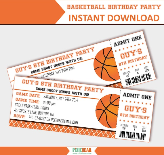 basketball party invitation basketball birthday invitation