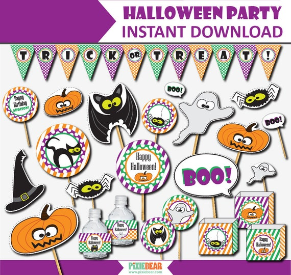 Halloween Birthday Party Decor , Halloween Party for Kids , Halloween  Birthday Decorations , Halloween Party Printable (Instant Download)