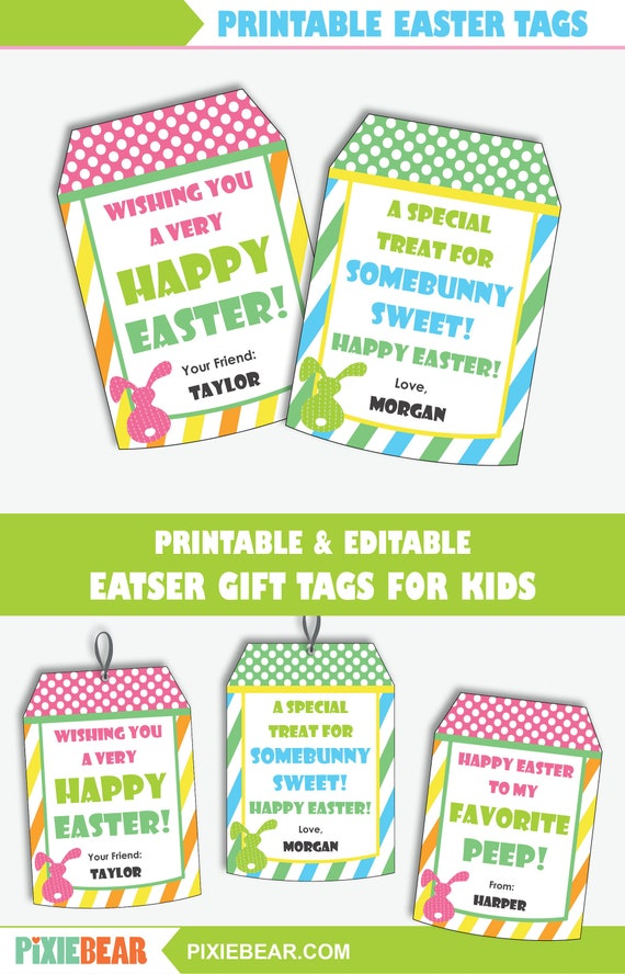 Easter Gift Tags Printable Favor Tags For Easter Treats