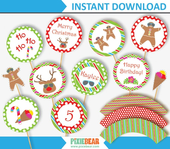 Christmas In July Party Clipart.Summer Christmas Cupcake Toppers Christmas Cupcake Topper