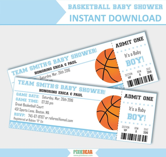 Basketball Baby Shower Invites Blue Baby Shower Invitation