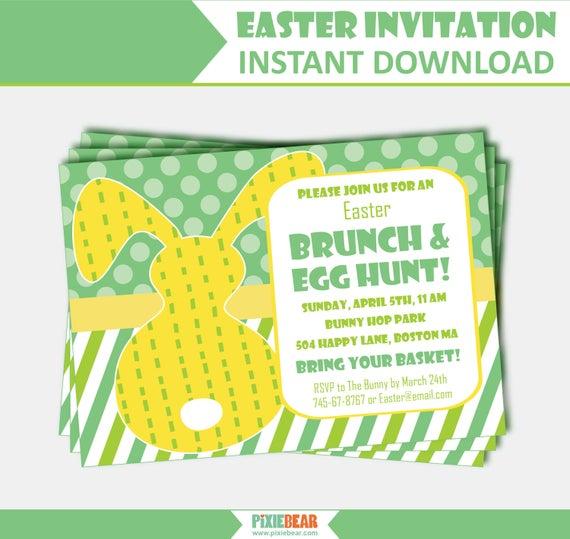 Easter Brunch Invitation Easter Party Invitation Easter Egg Hunt