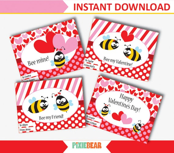 picture regarding Printable Valentines Cards for Kids identified as Bee Valentine Playing cards - Little ones Valentines Playing cards - Valentines Working day