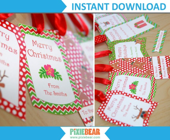 Editable Christmas Labels.Summer Christmas Tags Personalized Christmas Gift Tags For Kids Christmas Labels Printable Editable Tag Christmas In July Download