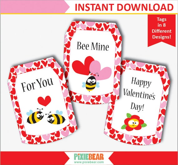 Valentines Day Tags Bee Valentine Gift Tags Valentines Etsy