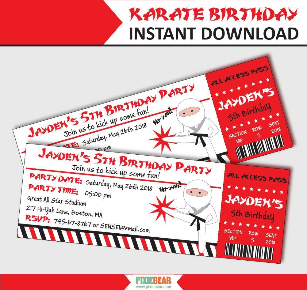 Karate Party Invitation Karate Birthday Invitation Ticket   Etsy