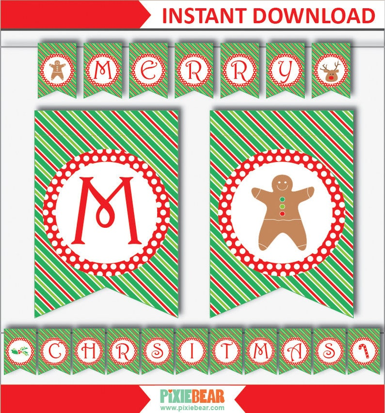 graphic relating to Merry Christmas Banner Printable named Merry Xmas Banner Printable - Xmas Banner Obtain - Xmas Bunting Printable - Xmas Garland Printable (Fast Obtain)