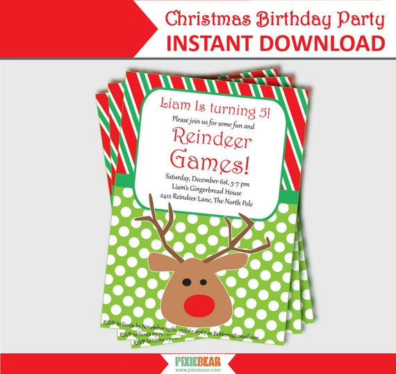 Christmas Birthday Invitation