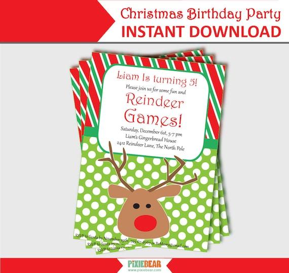 christmas birthday invitation christmas invitation digital