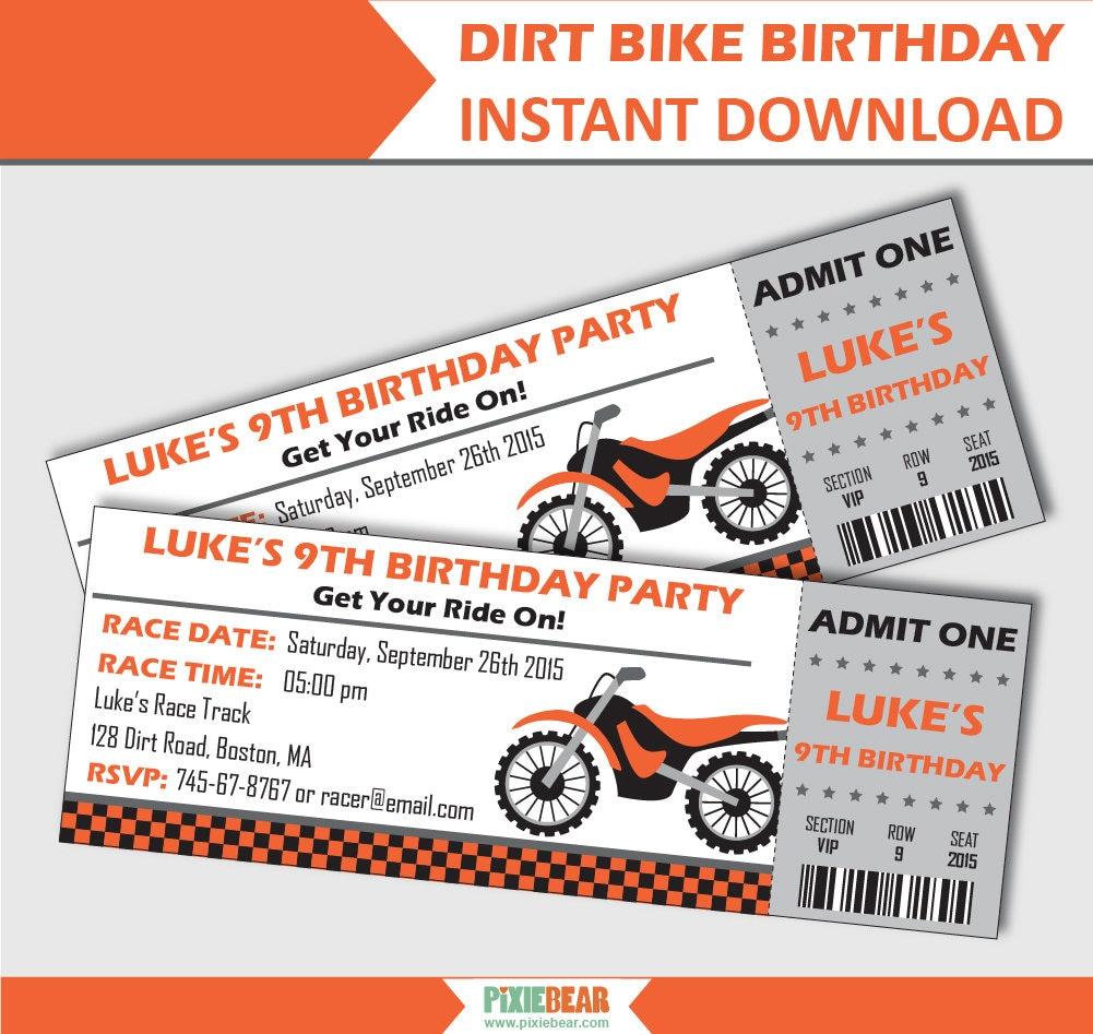 Dirt Bike Invitation Motorcycle Birthday Invitation | Etsy