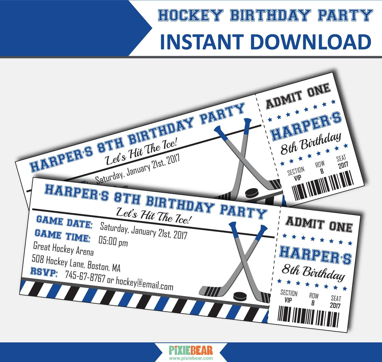 Hockey Invitation Hockey Birthday Invitation Hockey Party | Etsy