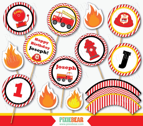 Fire Truck Cupcake Toppers Fire Truck Birthday Firetruck Party