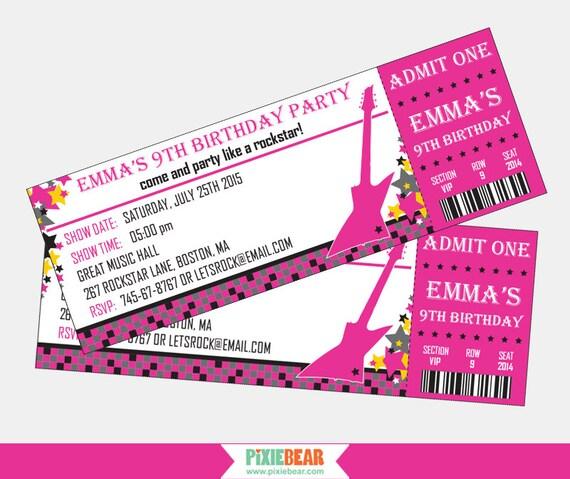 Rock Star Birthday Invitation Rockstar Party