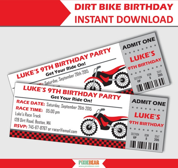 Dirt Bike Invitations