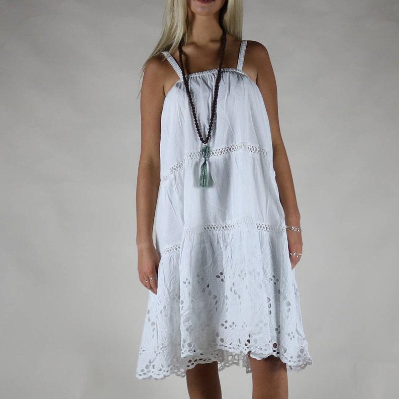 White Cotton Beach Dress