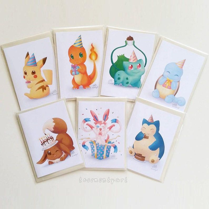 SET OF 7 Pokemon Birthday Cards Pikachu Charmander