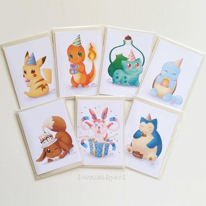 Personalised Birthday Cards Custom Australian SET OF 7 Pokemon