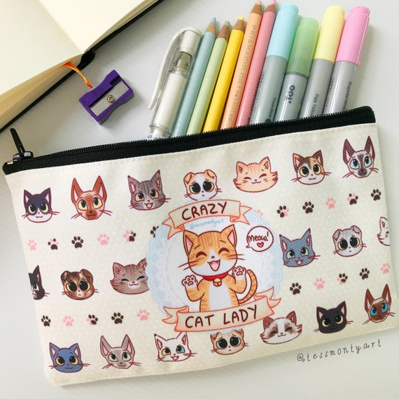Crazy cat lady back to school zippered case makeup bag card pouch pencil case cat lover zippered pouch