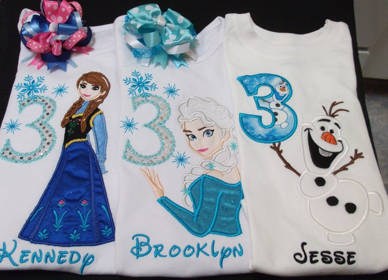 your choice of colors personalized name and number Ice Princess Frozen Disney Birthday shirt embroidered applique