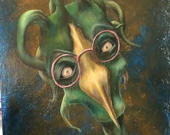 Rosemary original oil painting 18x24 Surreal Bird painting