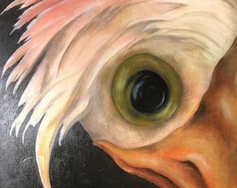 Bernadette original oil painting 18x24 Surreal Bird painting
