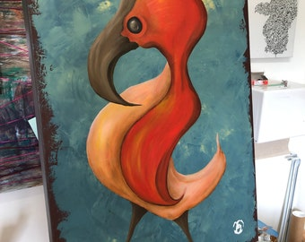 Stride original oil painting 18x24 Surreal Bird painting