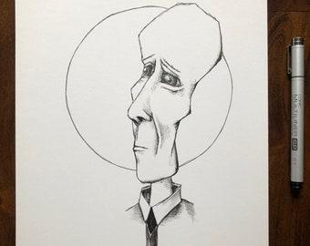 Original sketchbook art - pen and ink drawing 9x12 inch