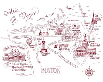 Custom map Custom illustrated wedding map