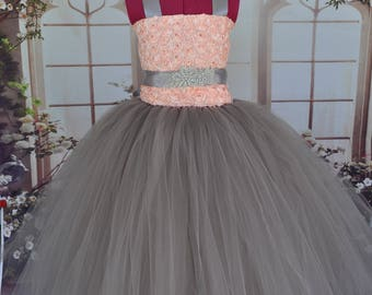 Grey blush pink flower girl dress gray blush baby dress etsy blush grey flower girl dress grey tulle special occasion dress grey blush toddler dressblush grey infant dress mightylinksfo