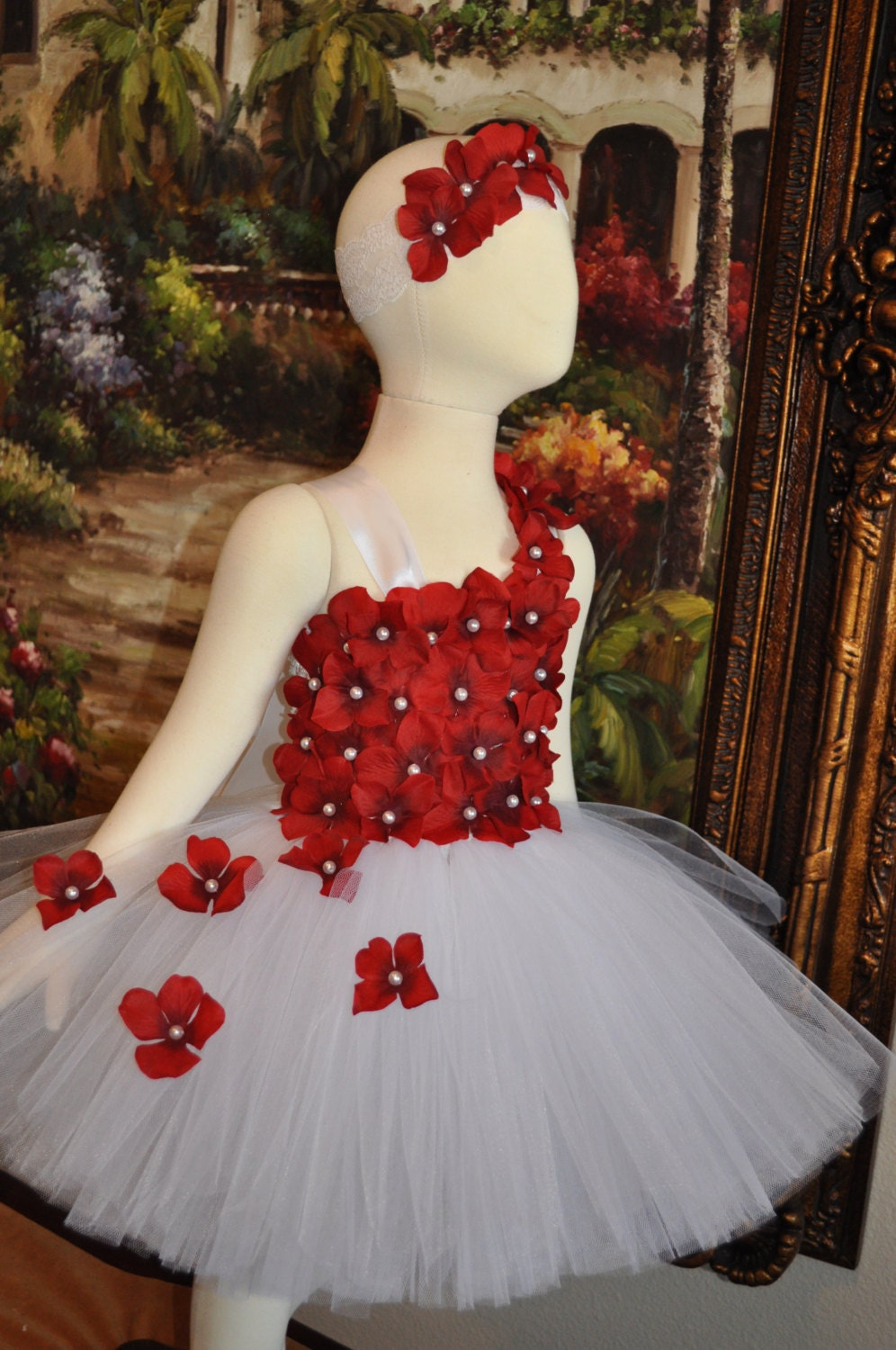 Special Occasion Tutu Dress Flower Girls White Red Dress Etsy