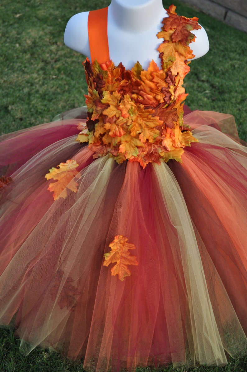 e86bf1f64 Fall Inspired Flower Girl Dress Leaf Flower Girl Dress