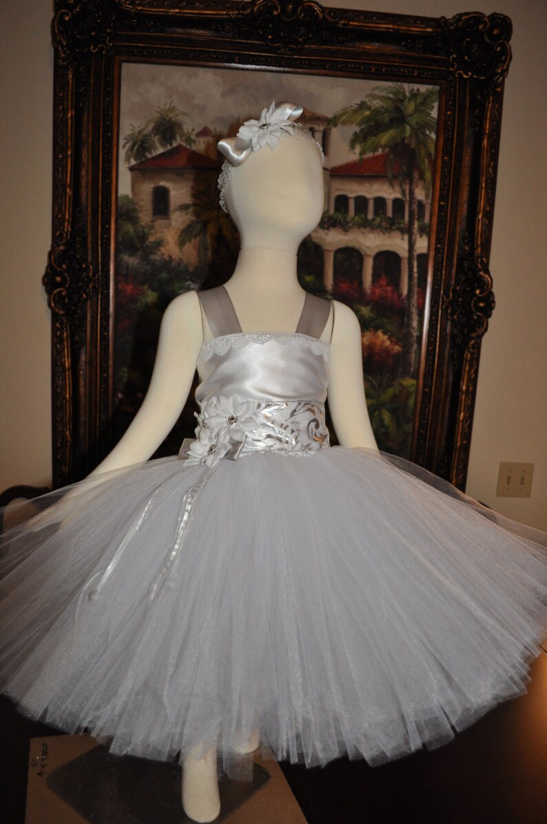 6d4dbf53762 Silver White Holiday Girls Dress Toddler Winter Holiday