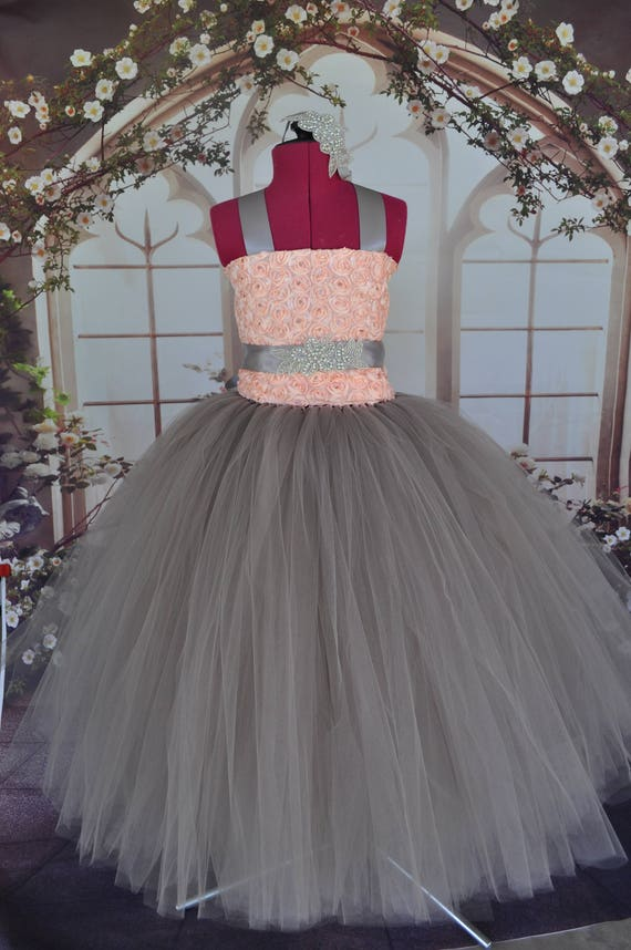 c97f5ca466d1 Blush Grey Flower Girl Dress Grey Tulle Special Occasion | Etsy