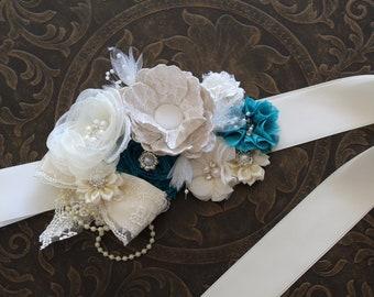 Teal Ivory Flower Girl Sash, Bridal Sash Belt, Maternity Sash Belt, Bridesmaid Sash, Rustic Wedding Sash, Rustic Flower Girl Headband