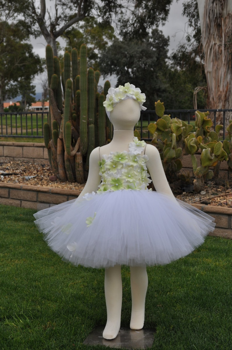 5041aacbc Girls Special Occasion Dress White Green Flower Girl Dress