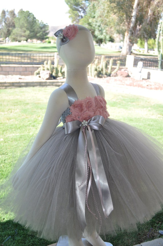 Grey blush pink flower girl dress gray blush baby dress etsy image 0 mightylinksfo