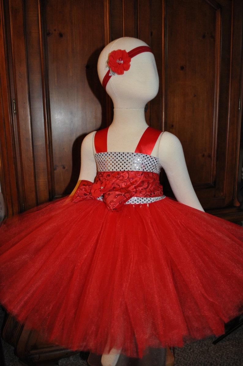 8326697ac0 Rojo plata flor vestido de niña las niñas rojo plata vestido