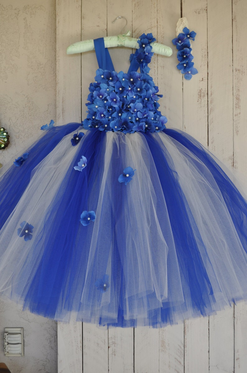 93d6a7622 Royal Blue Ivory Dress Infant Flower Girl Dress Royal Blue