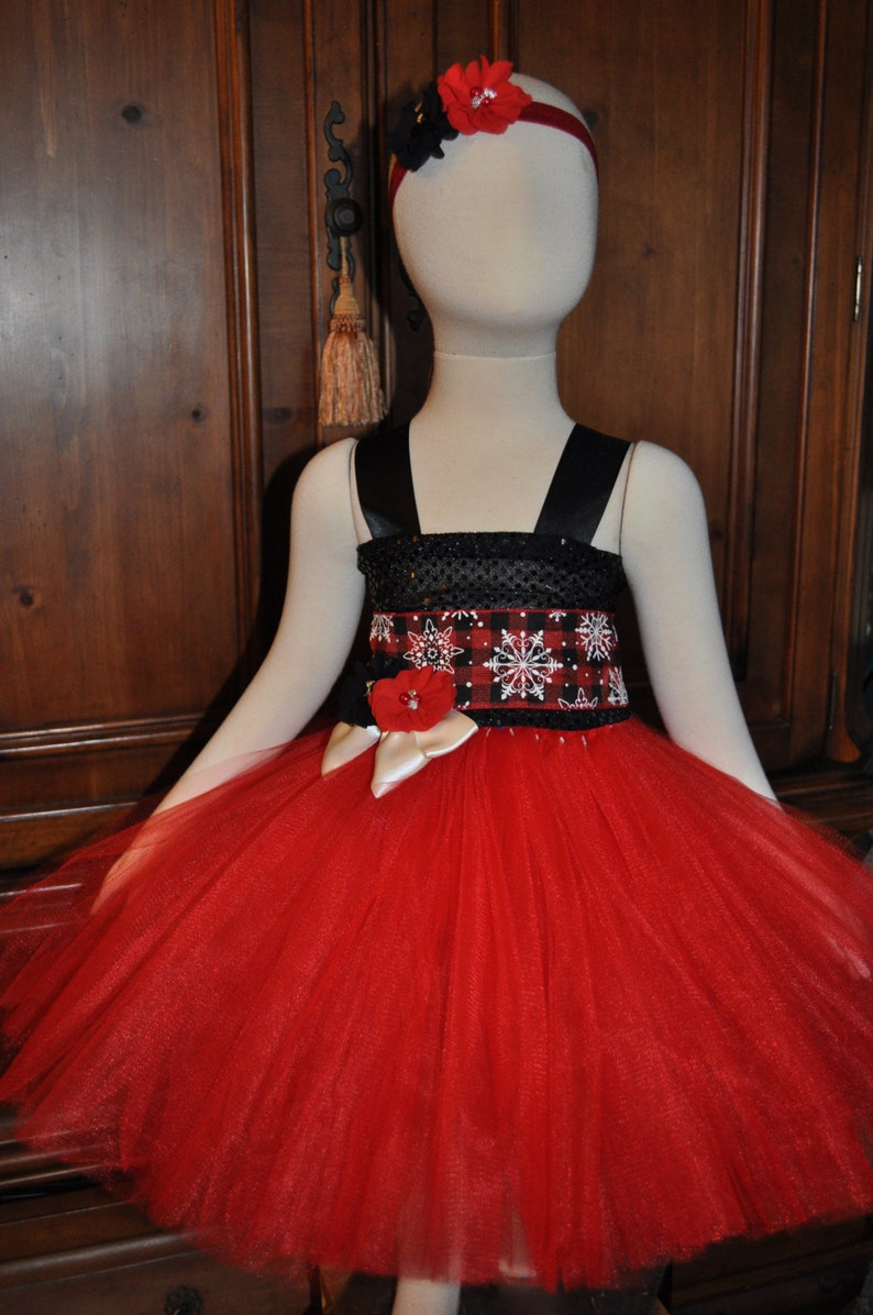 873466bc436c4 Girls Red Black Holiday Dress Toddler Christmas Dress Red | Etsy