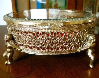 Gold Ormolu Filigree & Bevelled Glass Jewelry Box ~ Pedestal ~ Cherubs