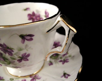 Aynsley Cup & Saucer - Violette Pattern