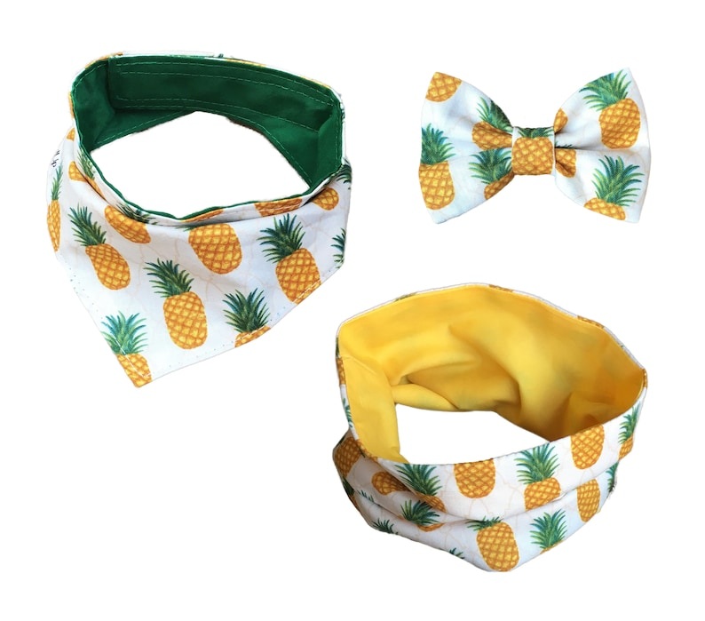 Pineapple Bandana Scarf or Bow Tie Navy image 0