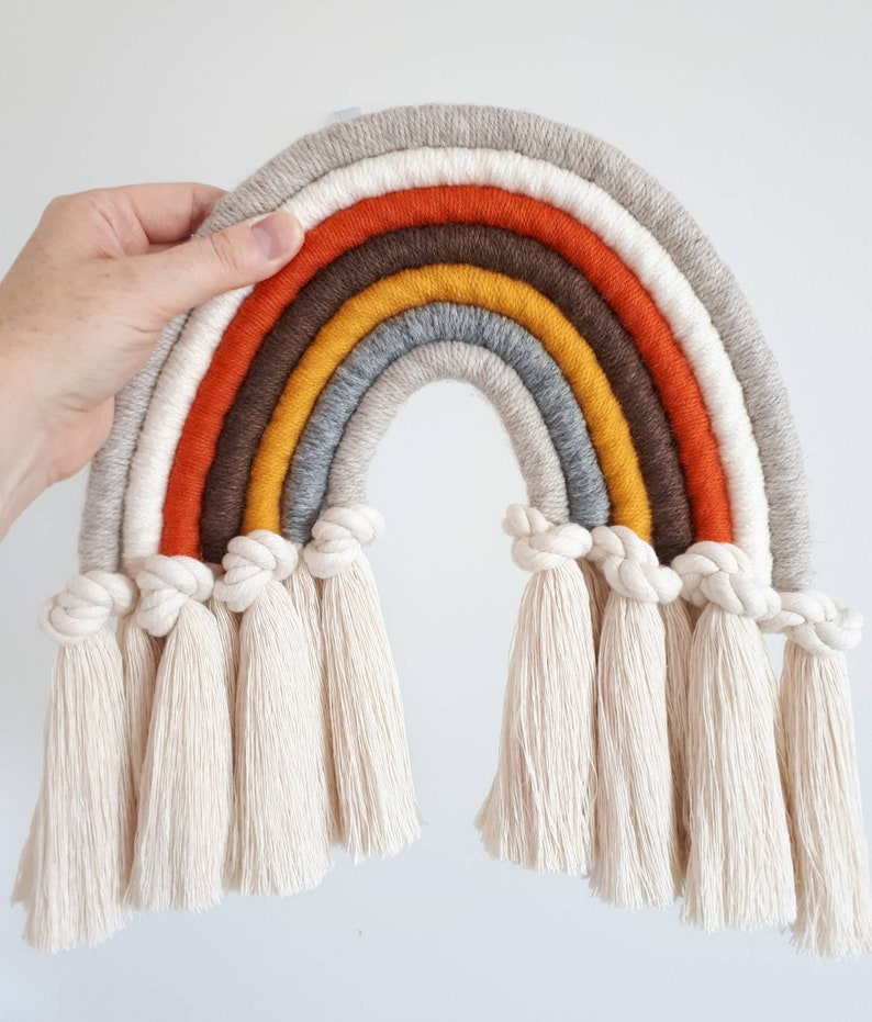 04d952395dc4f Macrame rainbow knotted wall hanging / decoration - fibre fiber wall art in  earthy tones - burnt orange mustard yellow brown grey gray