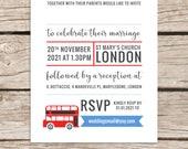 London themed wedding invitations, Red bus, British wedding invites, Modern simple printed design, Personalised alternative stationery