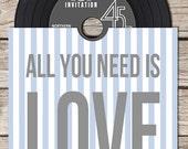 Vinyl CD Wedding Invitation - Blue