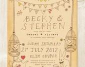 Alice in wonderland, tea party themed wedding invitation