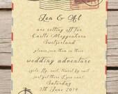 Travel theme wedding invitation, passport, vintage, destination wedding