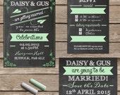 Blackboard and chalk wedding invitation