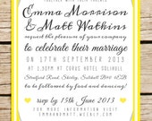 Colourful candy stripe wedding invitation. Typography wedding invitation