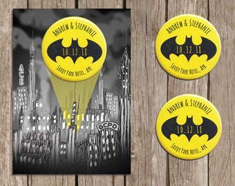 Batman Inspired Save the Date Magnets, Bat Magnet, DC Save the Date Cards, Personalised Wedding Stationery with Envelopes, Black, Yellow